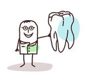 Karikaturzahnarzt mit dem großen Zahn Stockfoto