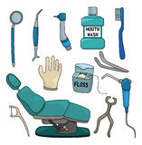 Karikaturzahnarzthilfsmittel-Ikonenset stock abbildung