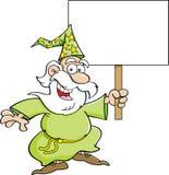 Karikaturzauberer mit einem Zeichen Lizenzfreie Stockbilder
