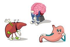 Karikaturzeichensatz von menschlichen inneren Organen Stockfoto