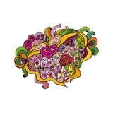 """Karikaturzeichnung †""""Liebe, Valentinsgrüße Begriffselement mit einem anderen Gegenstand, Gegenstände, Band, Valentinsgruß Lizenzfreie Stockfotos"""