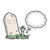 Karikaturzombie, der vom Grab mit Gedankenblase steigt Stockbilder