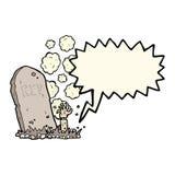 Karikaturzombie, der vom Grab mit Spracheblase steigt Stockbild