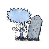 Karikaturzombie, der vom Grab mit Spracheblase steigt Lizenzfreies Stockfoto
