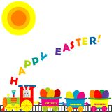 Karikaturzug mit farbigen Eiern stock abbildung