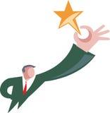 Karikatuur die van de mens voor gouden ster bereiken Stock Afbeelding