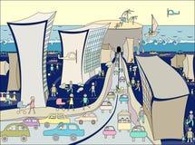 Karikatuur van de stad. royalty-vrije illustratie