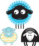 Karikatuur van schapen en ram Optie in kleur en de silhouetversie Stock Fotografie
