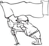 Karikatyr av en man som rymmer en flagga i hans händer Arkivfoto