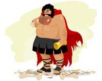 Karikatyr av ett sjukligt fett spartanskt royaltyfri illustrationer