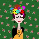 Karikatyr av konstnären Frida Kahlo Mexicansk kvinnakonstnär med frisyren och blommor i plan stil Vektorstående som isoleras på v royaltyfri illustrationer