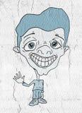 Karikatyr av mannen med fejkar leende royaltyfri illustrationer