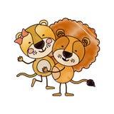 Karikatyr för färgfärgpennakontur med par av lejoninna och lejon en som bär de andra gulliga djuren vektor illustrationer