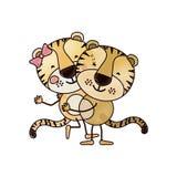 Karikatyr för färgfärgpennakontur med par av tigrar en som bär de andra gulliga djuren royaltyfri illustrationer