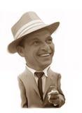 karikatyr Frank Sinatra vektor illustrationer