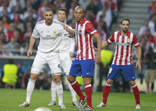 Karim Benzema and Joao Miranda Champion League 2014 Stock Photo