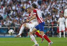 Karim Benzema and Luis Felipe Final Champion League 2014 Royalty Free Stock Photo