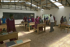 Karimba School with school children in new classroom in North Kenya, Africa