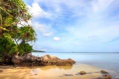 Karimunjawa印度尼西亚Java海滩海岸线岩石 库存照片