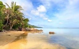 Karimunjawa印度尼西亚Java海滩海岸线岩石 图库摄影
