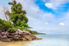 Karimunjawa印度尼西亚Java海滩海岸线岩石 免版税图库摄影