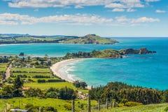 Karitane coastline, Otago, South Island, New Zealand. Karitane coastline, Huriawa Peninsula in the center (Historic Maori Pa Site), Karitane near Dunedin Otago Stock Photography