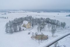 Karja-Kirche in Saaremaa Estland stockfoto