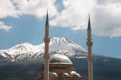 Karkın mosque and Mount Hasan (Turkey) Stock Photo