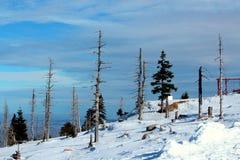 Karkonoska passerande i vinter Fotografering för Bildbyråer
