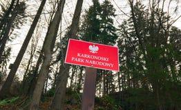 Karkonoski för välkommet tecken nationalpark, Karkonosze berg, Polen Arkivbild
