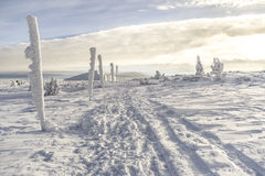 Karkonosze-Berge, sonniger Tag, Winterzeit polen Stockfoto