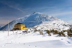 Karkonosze/Krkonose山在冬天,登上Sniezka,波兰,捷克共和国 库存照片