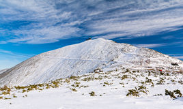 Karkonosze/Krkonose山在冬天,登上Sniezka,波兰,捷克共和国 图库摄影