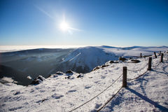 Karkonosze Krkonose od Sniezka w zimie Zdjęcie Stock