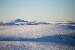 Karkonosze from Sniezka, in winter. Royalty Free Stock Photo