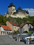 Karlstejn Castle, Karlstejn, Czech Republic. Karlštejn Castle Czech: hrad Karlštejn; German: Burg Karlstein is a large Gothic castle founded 1348 CE by royalty free stock image
