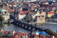 Karl Bridge, Prague. View Of Prague city in Czech Republic and his famous bridge stock photo