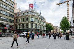 Karl Johans gate is the main street of the city of Oslo, Norway. Royalty Free Stock Photos