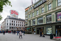 Karl Johans gate is the main street of the city of Oslo, Norway. Royalty Free Stock Image