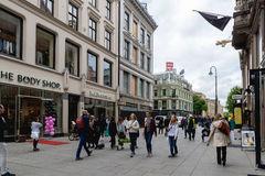 Karl Johans gate is the main street of the city of Oslo, Norway. Stock Photos