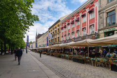 Karl Johans gate is the main street of the city of Oslo, Norway. Stock Photography