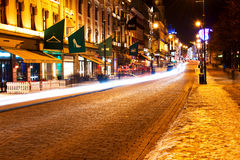 Karl Johans Gate at winter night Stock Image