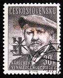 Karl Klietsch, Karel Klic, Czech painter, photographer and illustrator, circa 1957. MOSCOW, RUSSIA - APRIL 2, 2017: A post stamp printed in Czechoslovakia shows Royalty Free Stock Photos