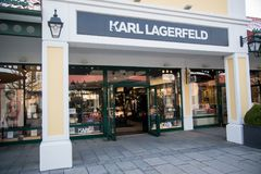 Karl Lagerfeld store in Parndorf, Austria. Parndorf, Austria, february 15, 2018: Karl Lagerfeld store in Parndorf, Austria. Karl Lagerfeld is a clothing company Royalty Free Stock Images