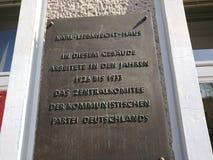 Karl Liebknecht House i Berlin, Tyskland Arkivfoto