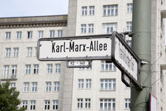 Karl Marx Allee Street Sign, Berlin Royalty Free Stock Image