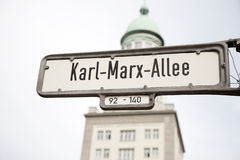 Karl Marx Allee Street Sign, Berlin Stock Photography