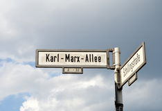Karl Marx Allee Street Sign. In Berlin, Germany stock photography