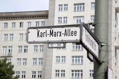 Karl Marx Allee znak uliczny, Berlin obraz royalty free
