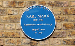 Karl Marx blue plaque. In Ramsgate Stock Image